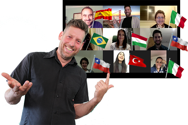Image showing the teacher with a screenshot from one of the free online conversation sessions and includes the flags of all the different students' nationalities.